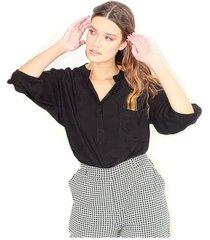 blusa color negro, botones delanteros, cuello redondo, manga 3/4 color-negro-talla-xl