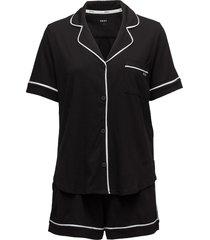 dkny new signature s/s top & boxer pj pyjama zwart dkny homewear