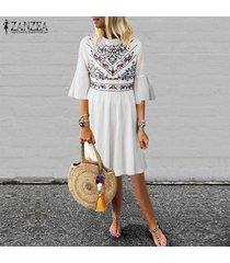zanzea nuevo de las mujeres de la impresión floral de la colmena de la llamarada de la manga del vestido de la playa del verano vestidos de festivo -blanco