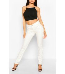 high waist stretch skinny jeans, white