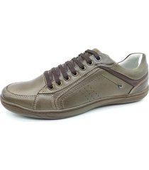 calçado masculino sapatênis em couro cor chocolate kéffor linha fênix - kanui