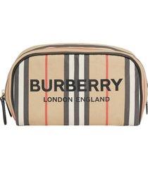 burberry small icon stripe logo cosmetics case, size one size - archive beige