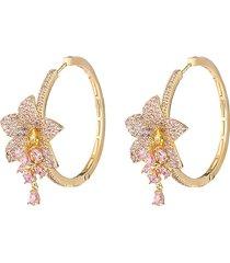 eye candy la women's the luxe violet rose 18k goldplated & cubic zirconia drop earrings