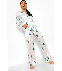 petite driedelige satijnen pyjama set broek en elastiekje, white