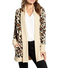 women's gibson cozy ribbed cardigan, size x-large - beige