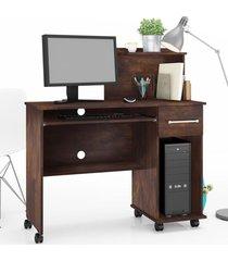 mesa para computador 1 gaveta studio noce - lukaliam móveis marrom