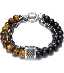 pulsera de cadena con cuentas de piedra natural de moda para hombre