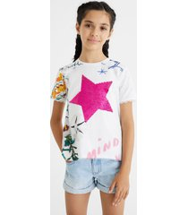 printed t-shirt reversible sequins - white - 13/14