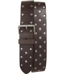 men's allsaints studded leather belt, size 40 - anthracite