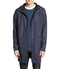 men's rains waterproof hooded long rain jacket, size x-small/small - blue