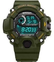 reloj deportivo digital militar sanda 326 hombre verde