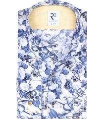 r2 shirt bloemenprint blauw