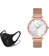 reloj hasir rose gold  fashion mask con cristales ferro