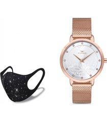 reloj hasir rose gold  fashion mask con cristales ferro