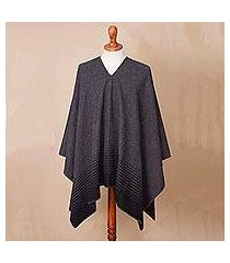 men's alpaca blend poncho, 'black adventure' (peru)