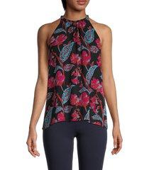 a.l.c. women's kinsa halterneck floral silk top - black multi - size 2
