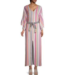 allison new york women's striped belted caftan - multi stripe - size s