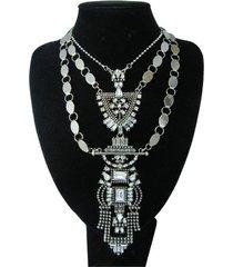 collar artesanal plateado sasmon cl-12314