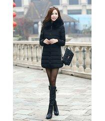 2017 down cotton outwear faux fur hooded parka women coat slim fit long jacket