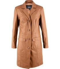 giaccone in similpelle sciancrato con collo a revers (marrone) - bpc bonprix collection