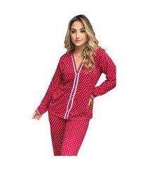 pijama adulto feminino longo liso aberto malha vermelho corações