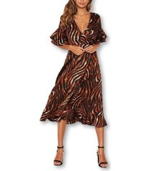 ax paris women's tiger print wrap dress with frill hem and sleeves