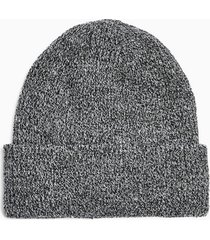 mens grey salt and pepper ribbed beanie