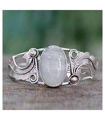 rainbow moonstone cuff bracelet, 'eternal glow' (india)
