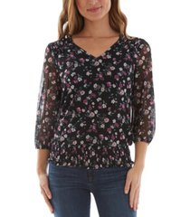 bcx juniors' floral-print smocked top