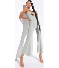 akira living for it wide leg jumpsuit with chain neckline