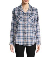 plaid cotton boyfriend button-down shirt