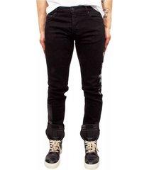 black shiny pocket tiger jeans