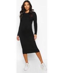 maternity basic bodycon dress, black