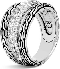 'classic chain' diamond silver ring