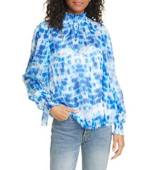 women's cami nyc the willa silk blouse, size xx-small - blue