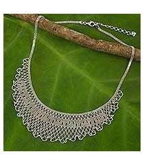 sterling silver waterfall necklace, 'ruffled jasmine' (thailand)