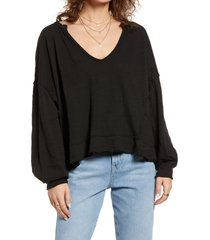 women's free people relaxed cotton pullover, size small