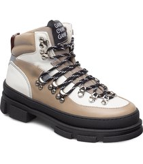hiking mix shoes boots ankle boots ankle boots flat heel beige ganni