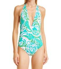 women's emilio pucci albizia halter one-piece swimsuit, size 10 us - green