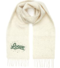 bead embroidered logo mohair scarf