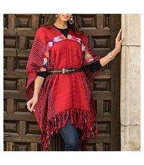 cotton poncho, 'claret artistry' (mexico)