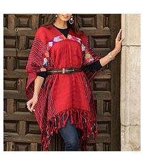cotton poncho, 'claret artistry' (mexico)