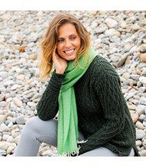 ladies' herringbone lambswool green scarf one size