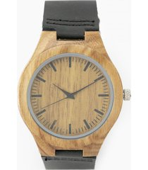 reloj madera cuero negro millam