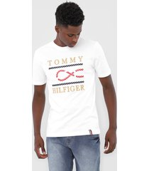 camiseta tommy hilfiger bordado branca