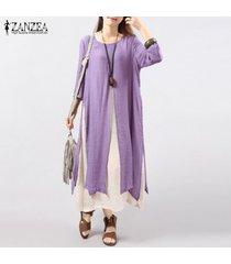 6 colores zanzea vestido de lino de algodón vintage para mujer vestidos sueltos de manga larga 3/4 vestidos largos largos tallas grandes s-5xl vestidos (púrpura) -púrpura