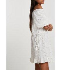 river island womens white broderie bardot mini dress