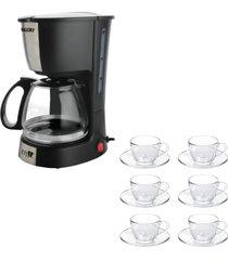 kit 1 cafeteira mallory filtro permanente 220v e 1 jogo de 6 xãcaras 90ml com pires - unico - dafiti