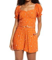women's bp. tie back prairie top, size x-small - orange