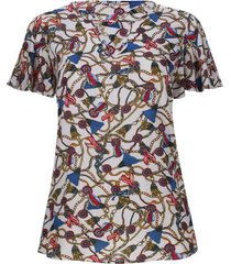 blusa cadenas con arandela color blanco, talla 16